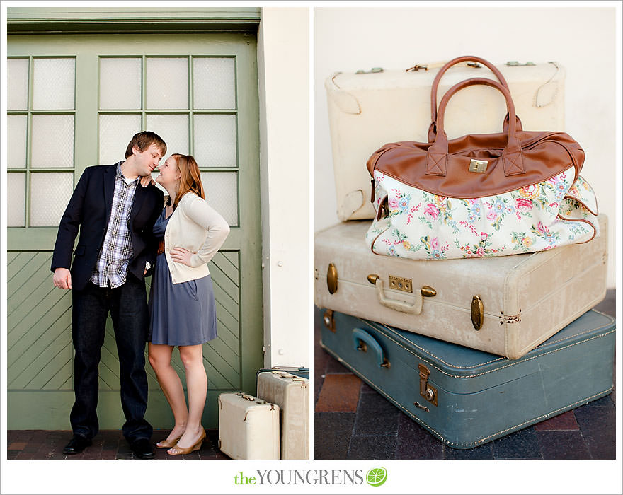 travel themed engagement session, san diego engagement session, engagement session with suitcases, san diego downtown engagement session, train station engagement session