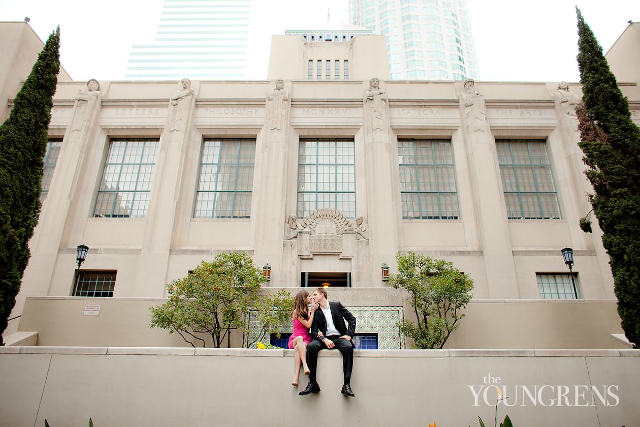 Los Angeles engagement, downtown Los Angeles engagement, enagagement at Los Angeles central library, library engagement, urban engagement, pink engagement, engagement with flowers, downtown engagement session