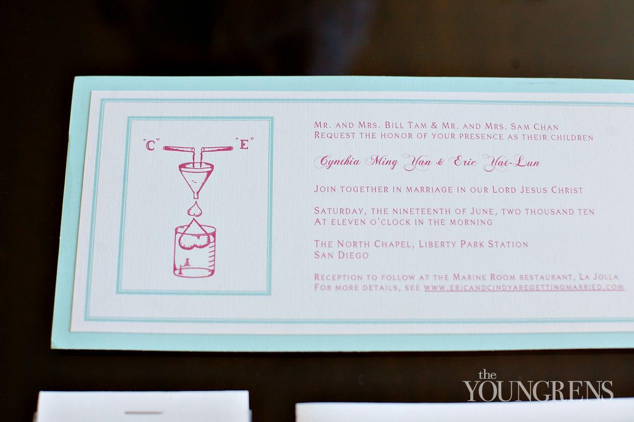 wedding invitations, san diego wedding invitations, creative wedding invitations, science themed invitations, science themed save the dates