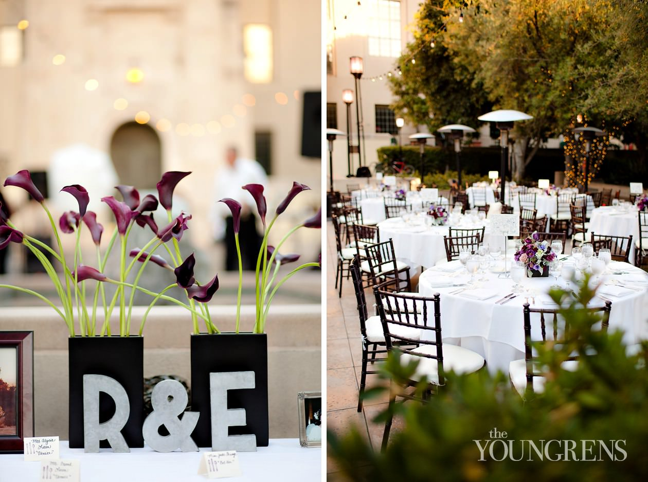 Café Pinot wedding, downtown Los Angeles wedding, LA wedding, city wedding, urban wedding, outdoor wedding, restaurant wedding, patio wedding, wedding with bistro lights, purple wedding