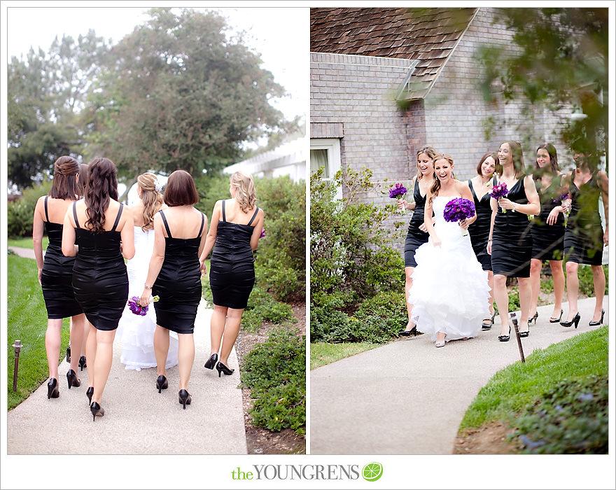L'Auberge Del Mar wedding, Jewish wedding ceremony, Catholic wedding ceremony, multi-religious ceremony, seaside wedding, beach wedding, destination wedding in San Diego, purple wedding, black wedding