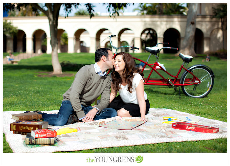 Balboa Park engagment, game board engagement, tandem bike engagement, San Diego engagement, Scrabble engagement, Stratego engagement, game engagement, picnic engagement, bike engagement