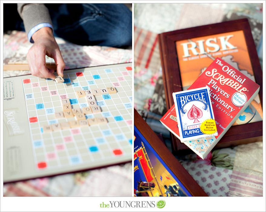 Scrabble engagement, board game engagement, tandebm bike engagement, Balboa Park engagement, San Diego engagement, picnic engagement