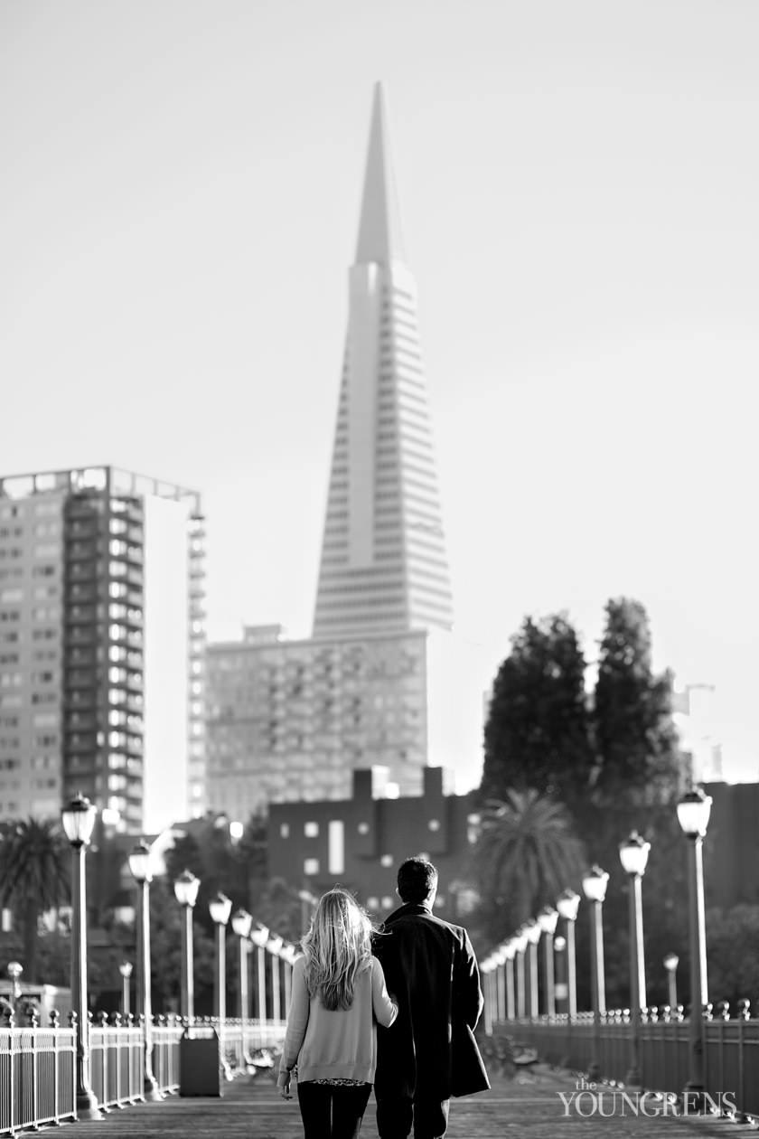 San Francisco engagement session, Embarcadero engagement, dog engagement, city engagement session, urban engagement, restaurant engagement session, San Francisco restaurant engagement, Absinthe engagement, Absinthe restaurant engagement