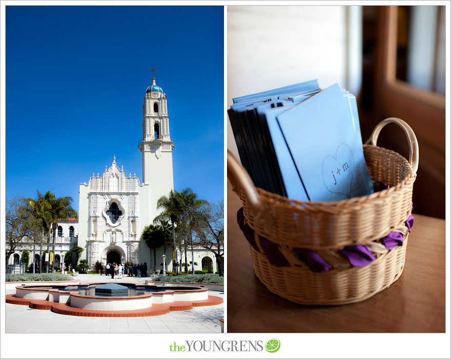 Immaculata wedding, USD wedding, University of San Diego wedding, Catholic wedding, Sheraton wedding, Sheraton Harbor Island wedding, Sheraton San Diego wedding, blue wedding, purple wedding