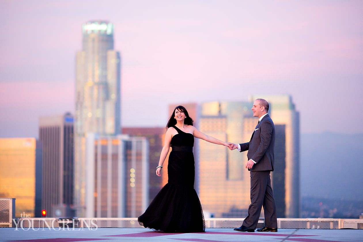downtown Los Angeles engagement, AT&T Center engagement, urban engagement, Los Angeles engagement, Staples center engagement, Helipad engagement, photos on a helipad, AT&T center helipad, engagement session on a helipad, downtown Los Angeles helipad engagement session