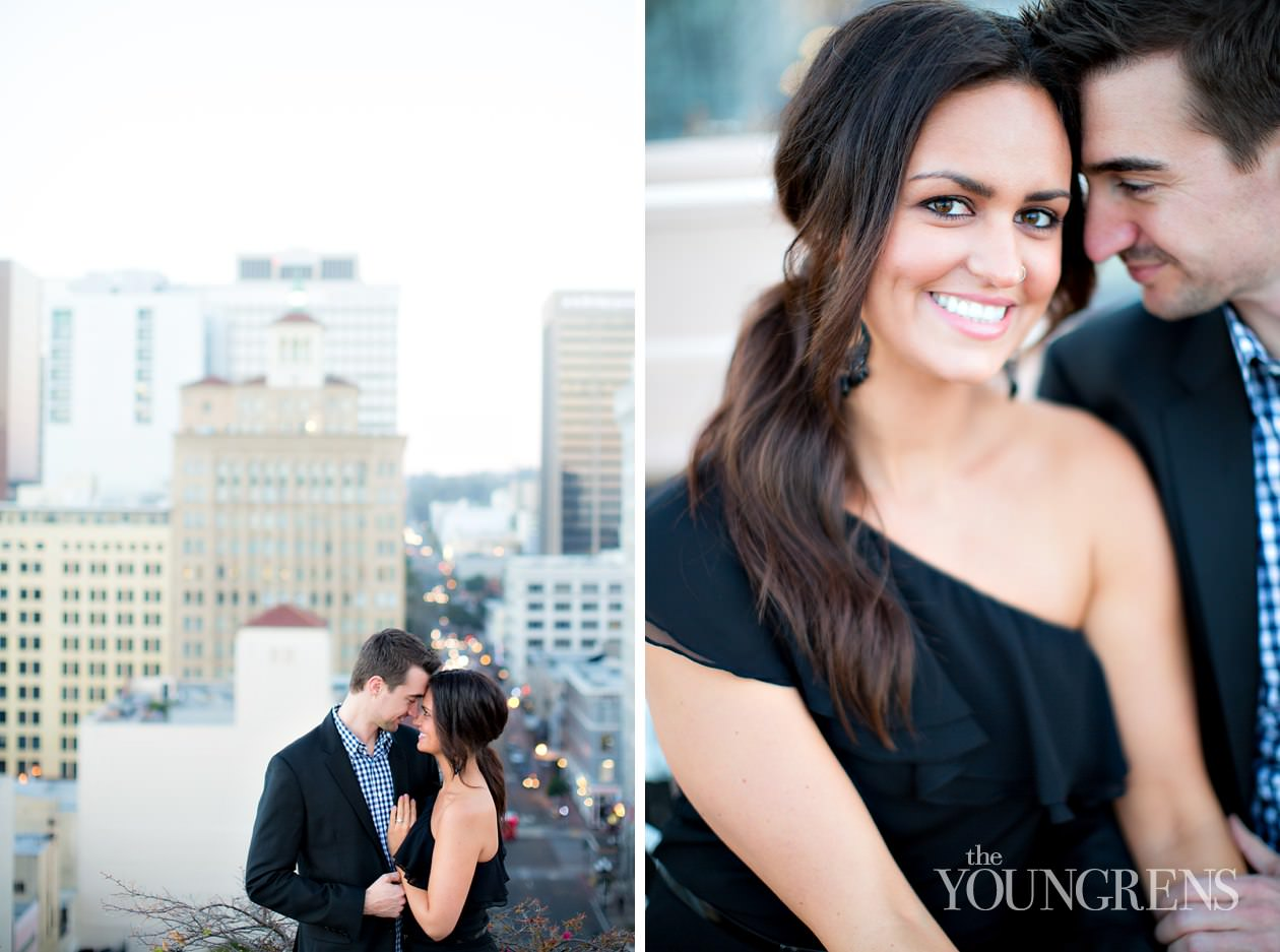 San Diego engagement session, downtown San Diego engagement session, St. James Hotel engagement session, rooftop engagement session, gaslamp engagement session, urban engagement session, skyline engagement session, San Diego skyline engagement session