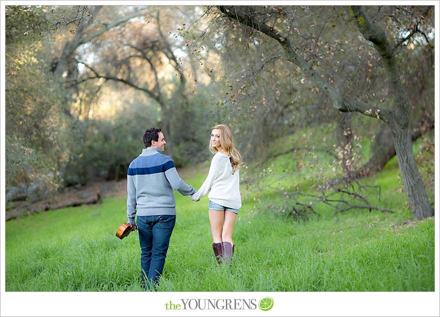 Felicita Park engagement session, Escondido engagement, bike engagement, park engagement, San Diego engagement, Ukulele engagement, marriage book engagement, cozy engagement, sweater engagement