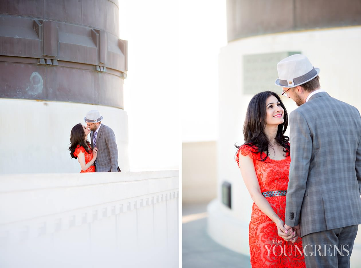 Griffith Park engagement, Griffith Observatory engagement, Los Angeles engagement, Hollywood engagement, Hollywood Hills engagement, vintage engagement, coral engagement, plaid suit engagement, artist engagement, architect engagement, Annette Vartanian engagement, I Heart Vintage Couture engagement, @nettevartanian engagement