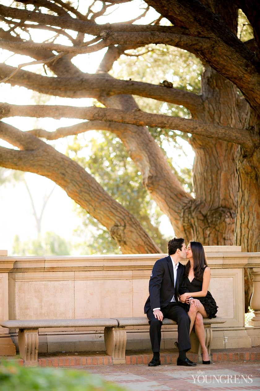 UCLA engagement session, LA engagement, Westwood engagement, college engagement, UC engagement, University engagement, college campus engagement, black dress engagement, Southern California engagement, formal engagement session