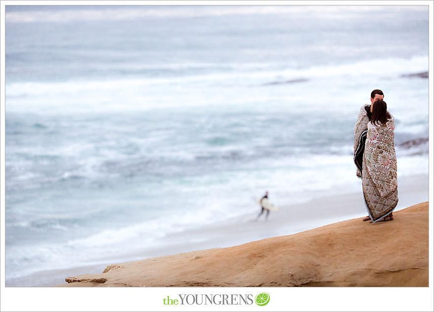 La Jolla engagement, Prospect Street engagement, downtown La Jolla engagement, La Jolla cove engagement, La Jolla seawall engagement, La Jolla seals engagement, puppy engagement, dog engagement, quilt engagement, blanket engagement, beach engagement, cliffs engagement, San Diego engagement