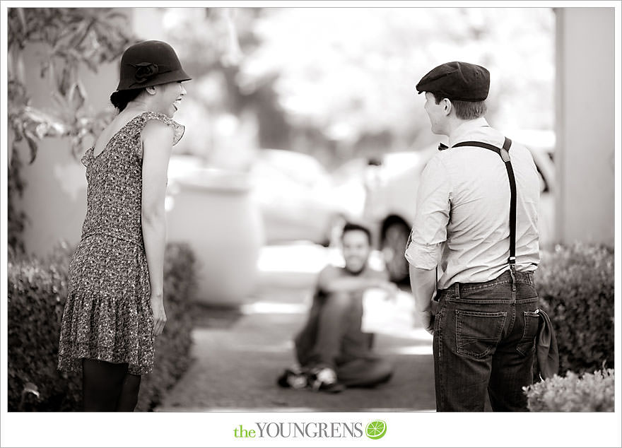 Short film engagement, black and white film engagement, vintage engagement, Balboa Park engagement, movie engagement, silent film engagement, 1920s engagement, movie trailer engagement
