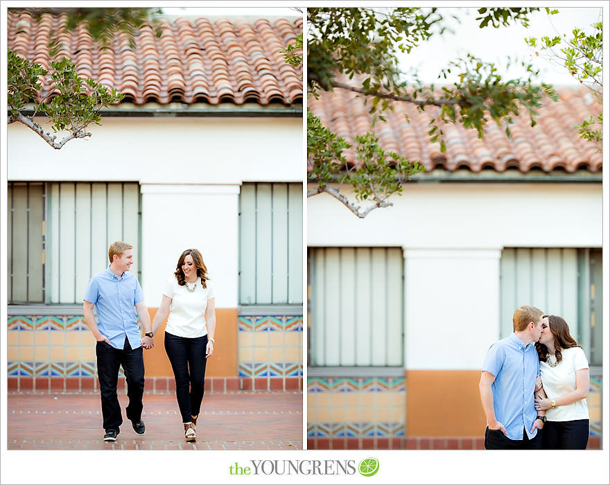 Union Station engagement, train station engagement, downtown Los Angeles engagement, travel themed engagement, Union Station Los Angeles engagement, luggage tag engagement