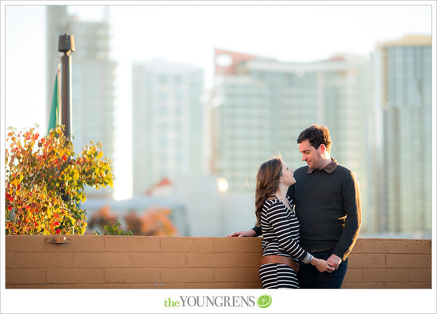 Little Italy engagement session, downtown engagement session, urban engagement session, San Diego engagement session, nighttime engagement session