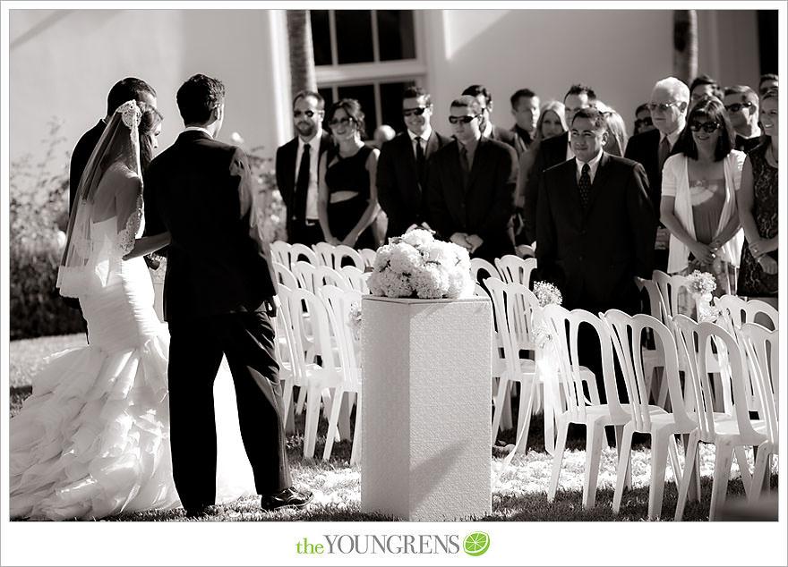 Richard Nixon Library wedding, Nixon Library ceremony, Nixon Library reception, Yorba Linda wedding, white wedding, black tie wedding, formal wedding, ballroom wedding, political wedding, black and white wedding. Black bridesmaid dresses