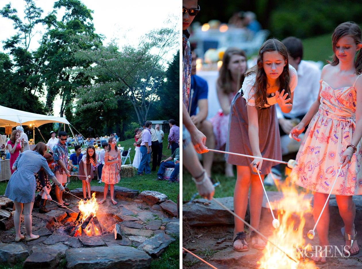 Backyard Bonfire Band : wedding, wedding at The Venue, BBQ wedding, SMores wedding, backyard