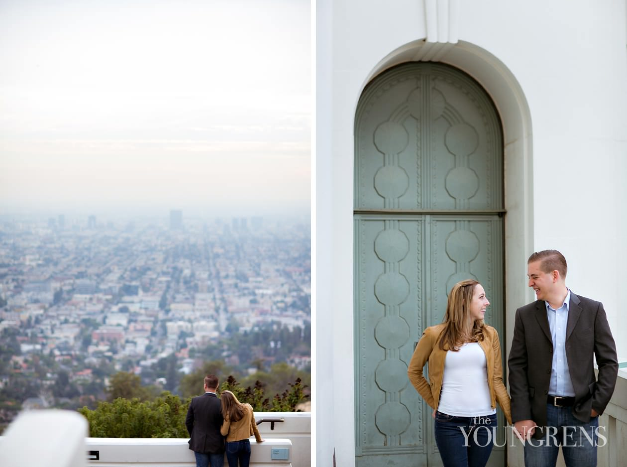 Griffith Observatory engagement, Los Angeles engagement, LA engagement session, telescope engagement, city engagement, sunset engagement, art deco engagement