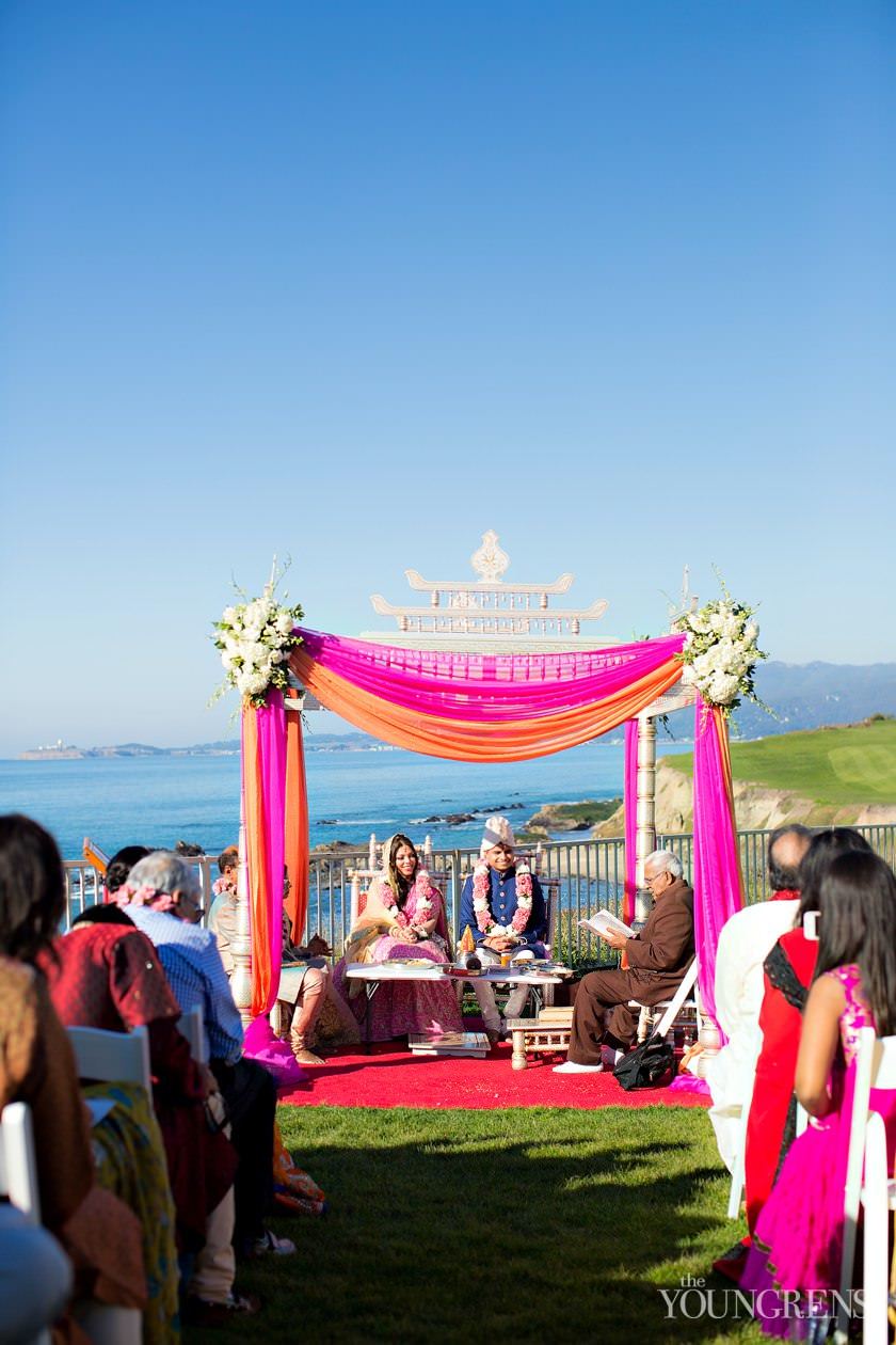 indian wedding, ritz-carlton wedding, half moon bay wedding, ritz-carlton half moon bay wedding, hindu ceremony, barat images, horse in a barat, seaside wedding, ocean view wedding, hot pink wedding, hot pink wedding dress, black tie wedding reception, Indian wedding ceremony, henna, sari, hot pink sari