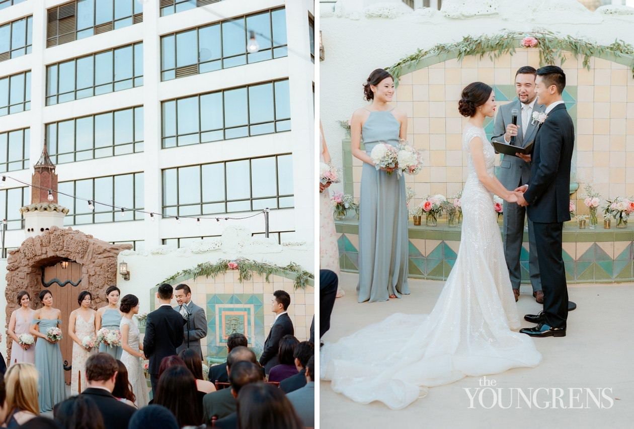 Downtown LA Wedding, oviatt penthouse wedding, rooftop wedding, vintage wedding, mid-century wedding, downtown wedding, los angeles wedding, oviatt penthouse ceremony, oviatt penthouse reception, grand park wedding photos, la athletic club wedding, la athletic club wedding party, film