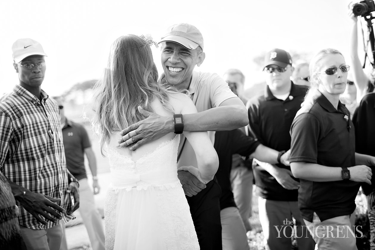 POTUS, president of the united states, barack obama, mr president, the lodge at torrey pines, mint weddings, the lodge wedding, president crashes wedding, san diego wedding, la jolla wedding, POTUS at wedding, POTUS with bride, POTUS with wedding couple
