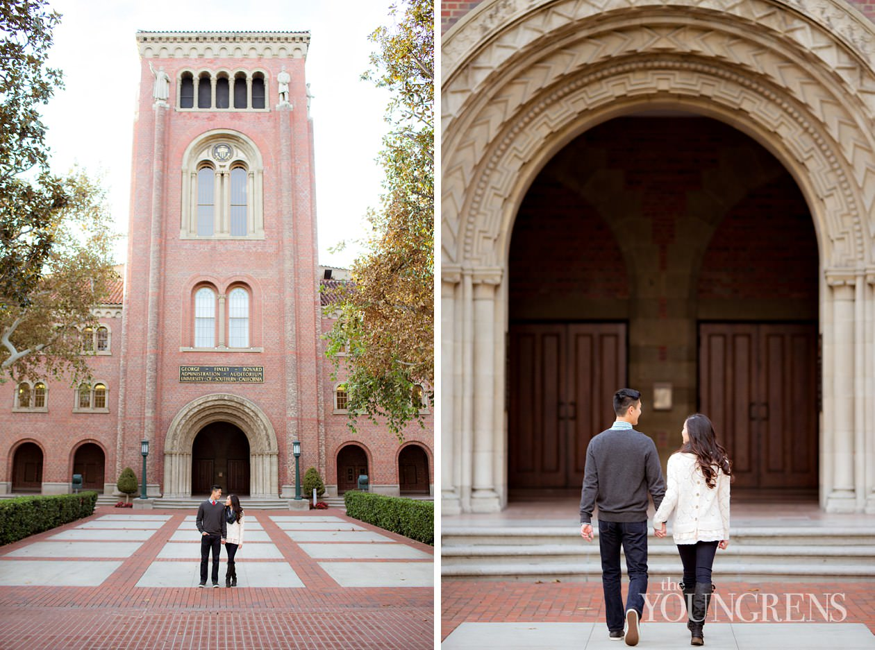 usc engagement, university of southern california engagement, los angeles engagement, college engagement, university engagement, collegiate engagement, downtown los angeles engagement, library engagement, card catalog engagement, bookshelves engagement, doheny library engagement