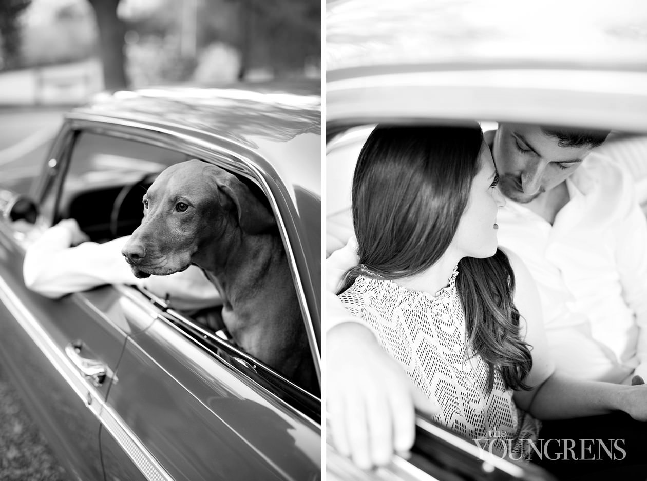 oneill regional park engagement, orange county engagement, nature park engagement, car engagement, 1964 impala engagement, 2011 porsche boxer spider engagement, vintage car engagement, classic car engagement, dog engagement, rancho santa margarita engagement
