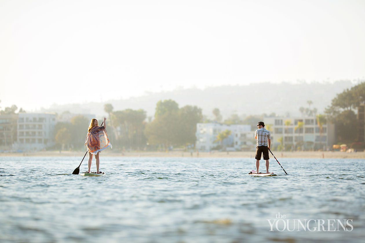 pacific beach engagement, paddleboard engagement, stand up paddle board engagement, SUP engagement, beach engagement, blanket engagement, mission bay engagement, water engagement, bay engagement