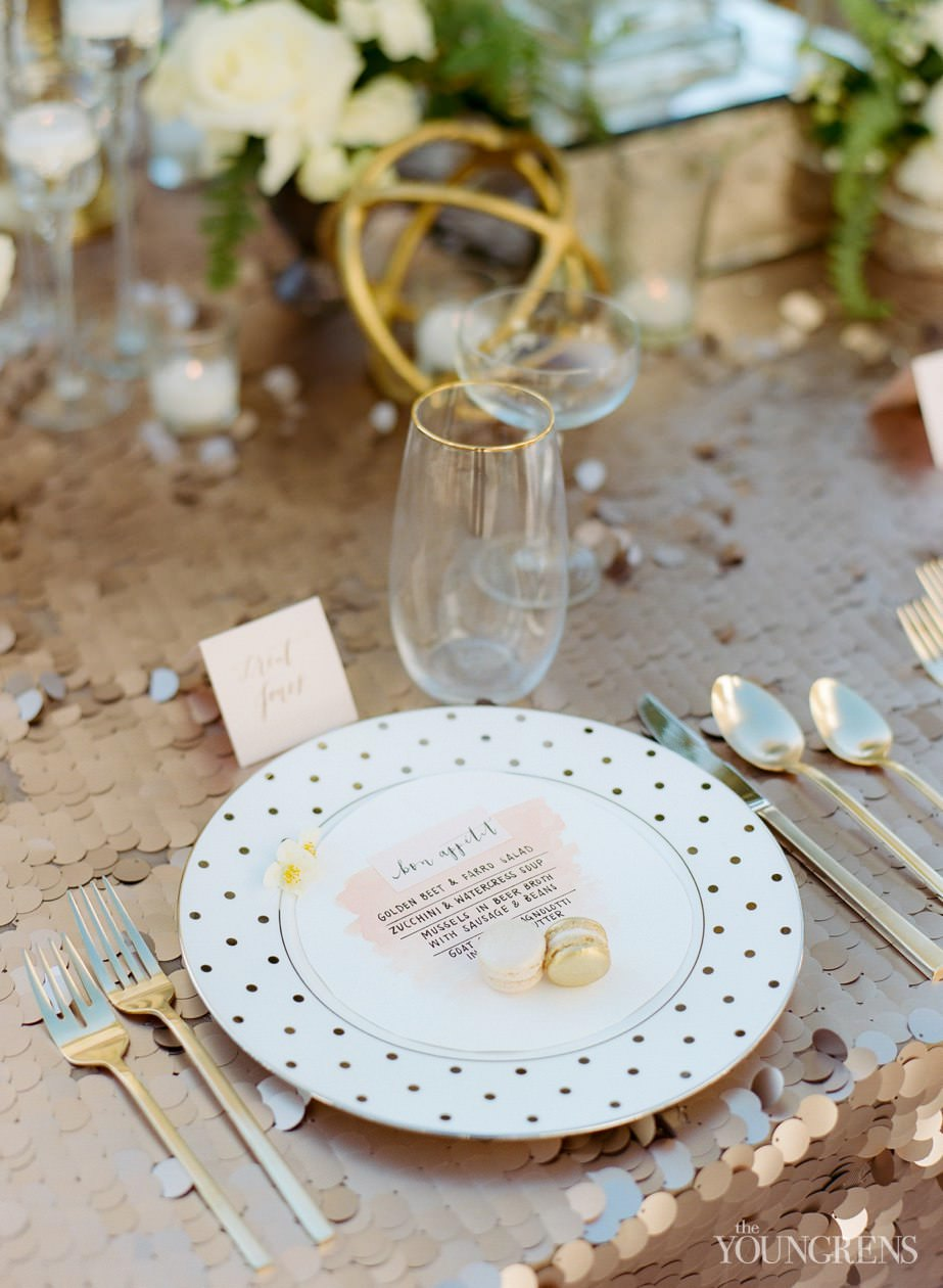 couture events tabletop, couture, gold event, gold, sequins, macarons, blush, gold and blush wedding, film