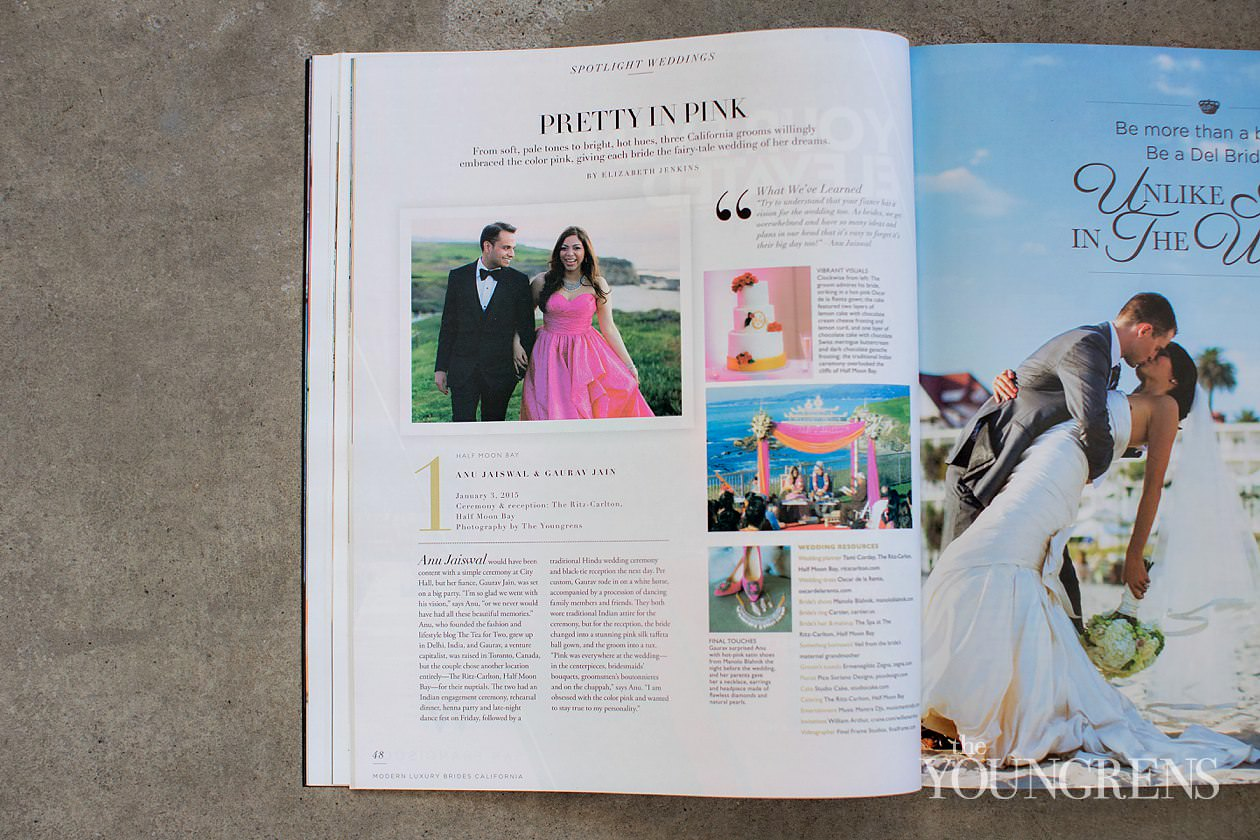 Indian wedding, The Ritz-Carlton Half Moon Bay wedding, ritz-carlton wedding, hot pink wedding, anu jaiswal wedding, a tea for two wedding, fashion blogger wedding, traditional wedding, Indian ceremony, hindu ceremony, Modern Luxury Brides California magazine feature