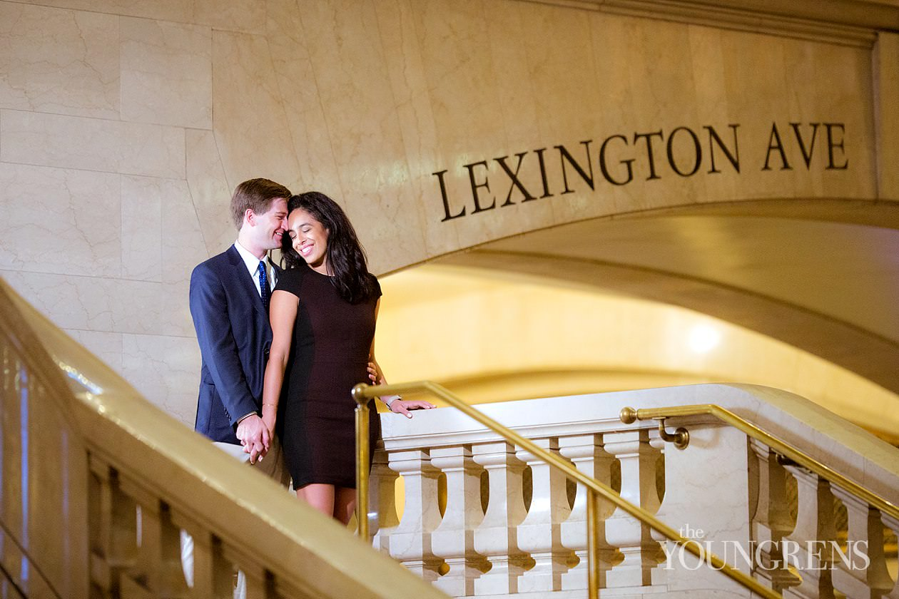new york engagement, grand central station engagement session, manhattan engagement session, new york couple, new york photography, east coast photography, rainy day engagement session, train engagement session, iconic new york engagement session