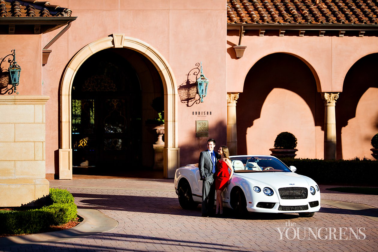 grand del mar engagement session, engagement at grand del mar, fairmont grand del mar engagement, engagement with bentley, fancy car engagement, bentley engagement, white bentley engagement session, addison restaurant engagement session, engagement session with a bentley