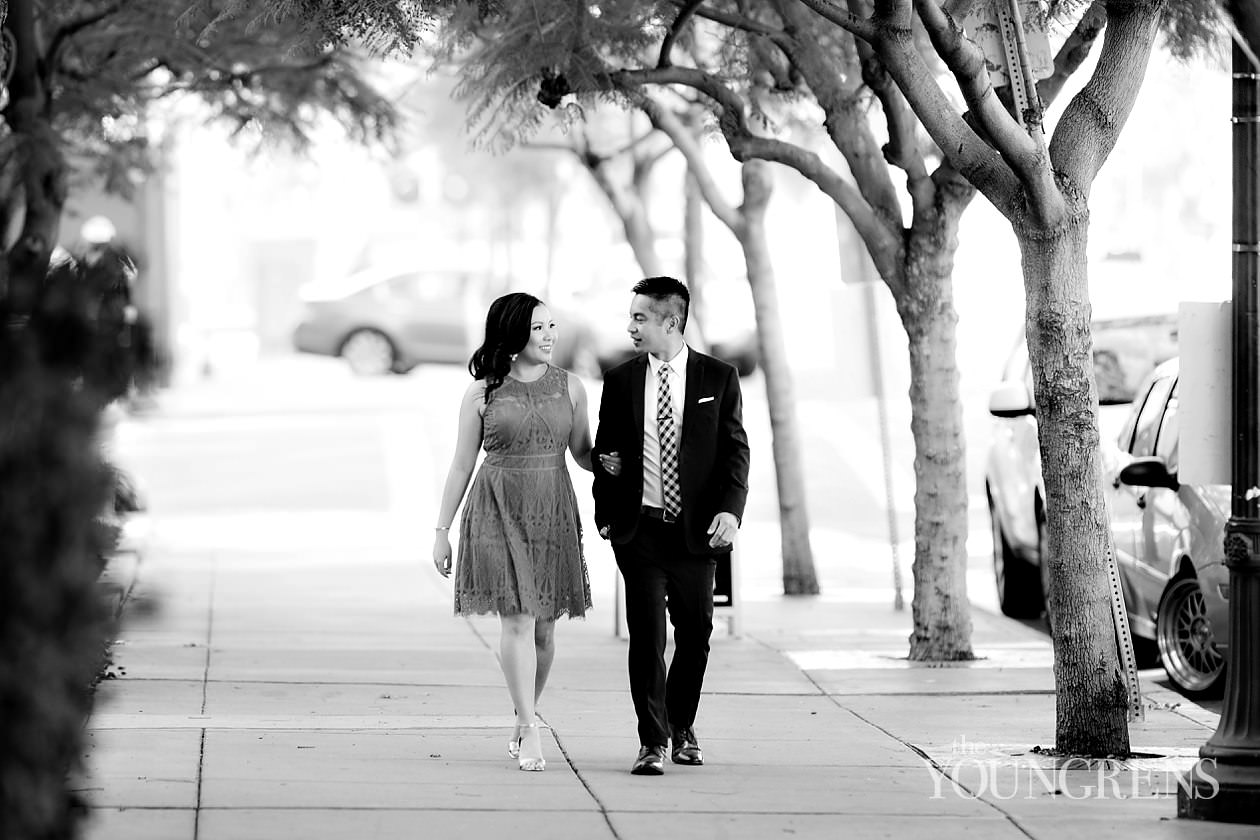 Little Italy engagement, san diego engagement, downtown san diego engagement, waterfront park engagement, classic city engagement, urban engagement, red dress engagement, suit & tie engagement, india street engagement, harbor engagement