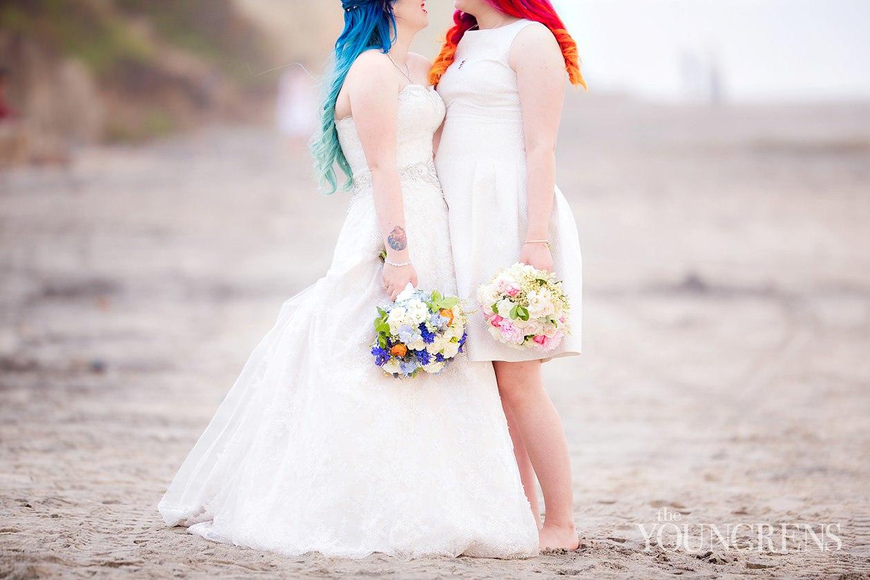 lauberge del mar wedding, seaside wedding, beach wedding, del mar wedding, same sex wedding, same sex wedding at lauberge, colorful hair, ombre hair, rainbow ombre hair, blue ombre hair