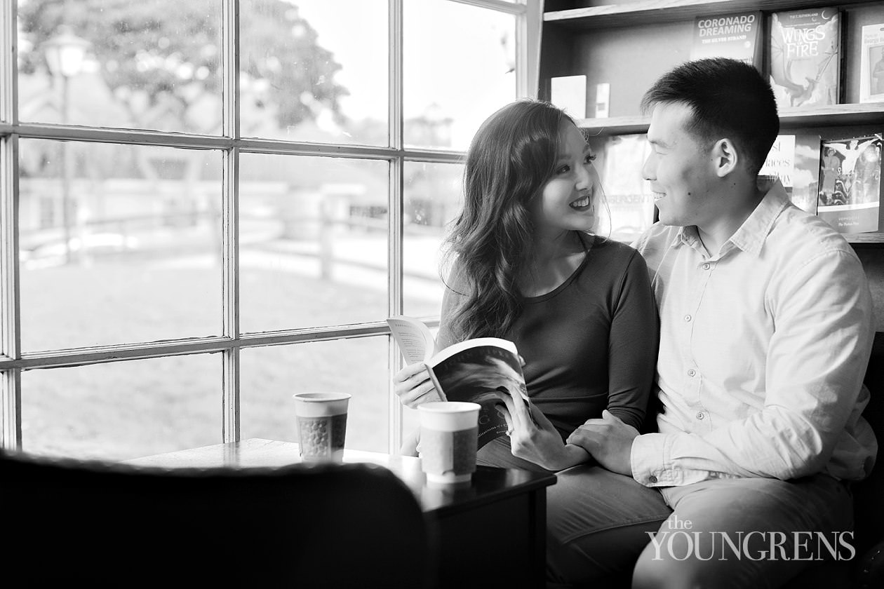 san diego engagement session, korean pre-wedding shoot in san diego, seaport village engagement, coffeeshop engagement session, cafe engagement session, classic harbor engagement session, san diego harbor engagement session, downtown san diego engagement, classic downtown portraits, elegant san diego engagement session, formal engagement session in san diego