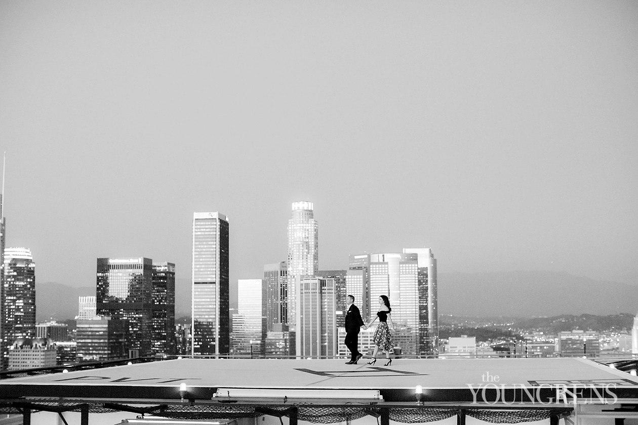Los Angeles Helipad Engagement Session, la engagement session, dtla engagement session, urban engagement session, helipad engagement session, south park center helipad engagement, photo shoot on a helipad, portraits on a helipad, engagement session on the south park center helipad, skyline engagement session, city view engagement session, la skyline at night