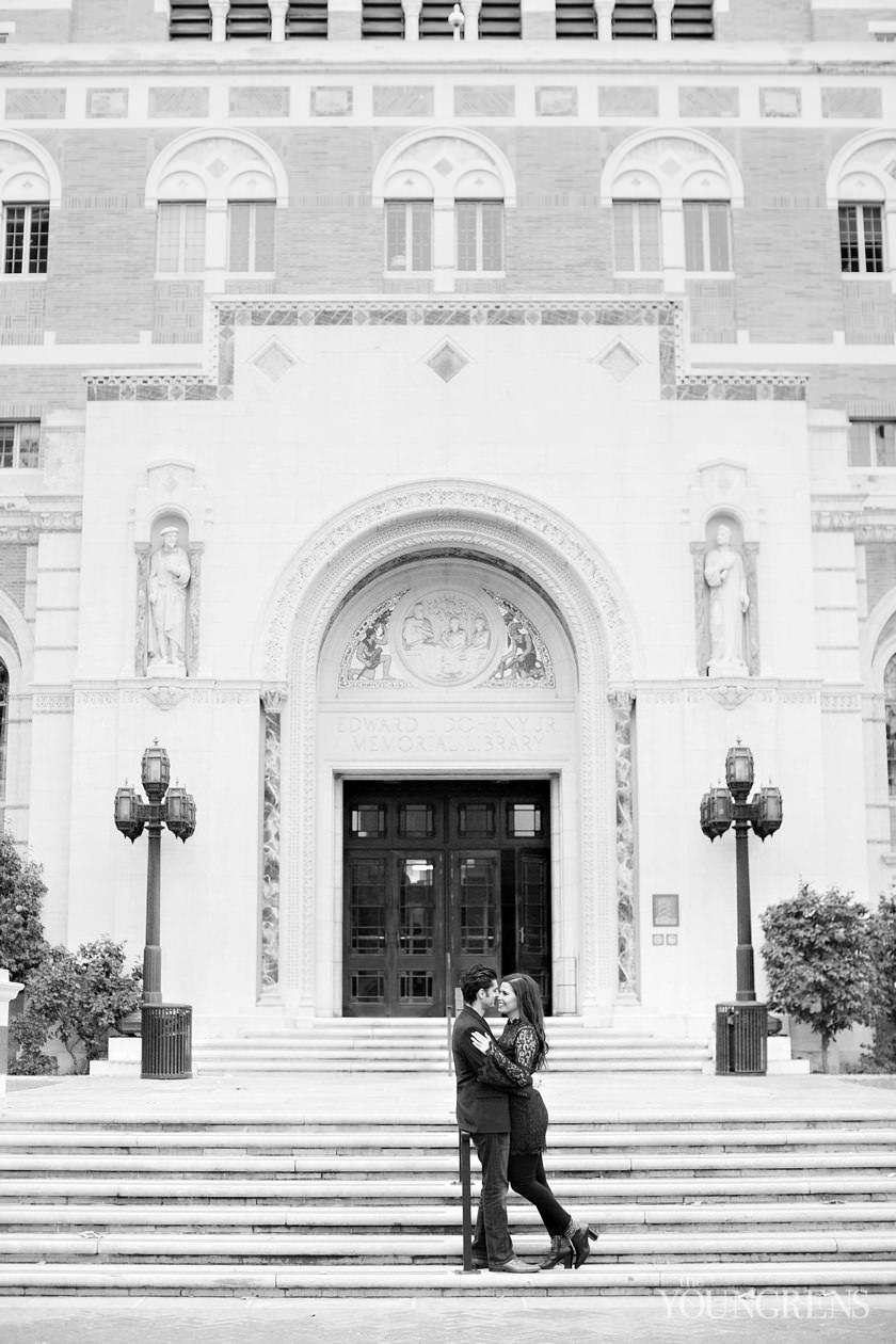 USC engagement, university of southern california engagement, los angeles engagement, college campus engagement, tommy the trojan engagement, classic usc engagement, black and white usc engagement, Trojan engagement