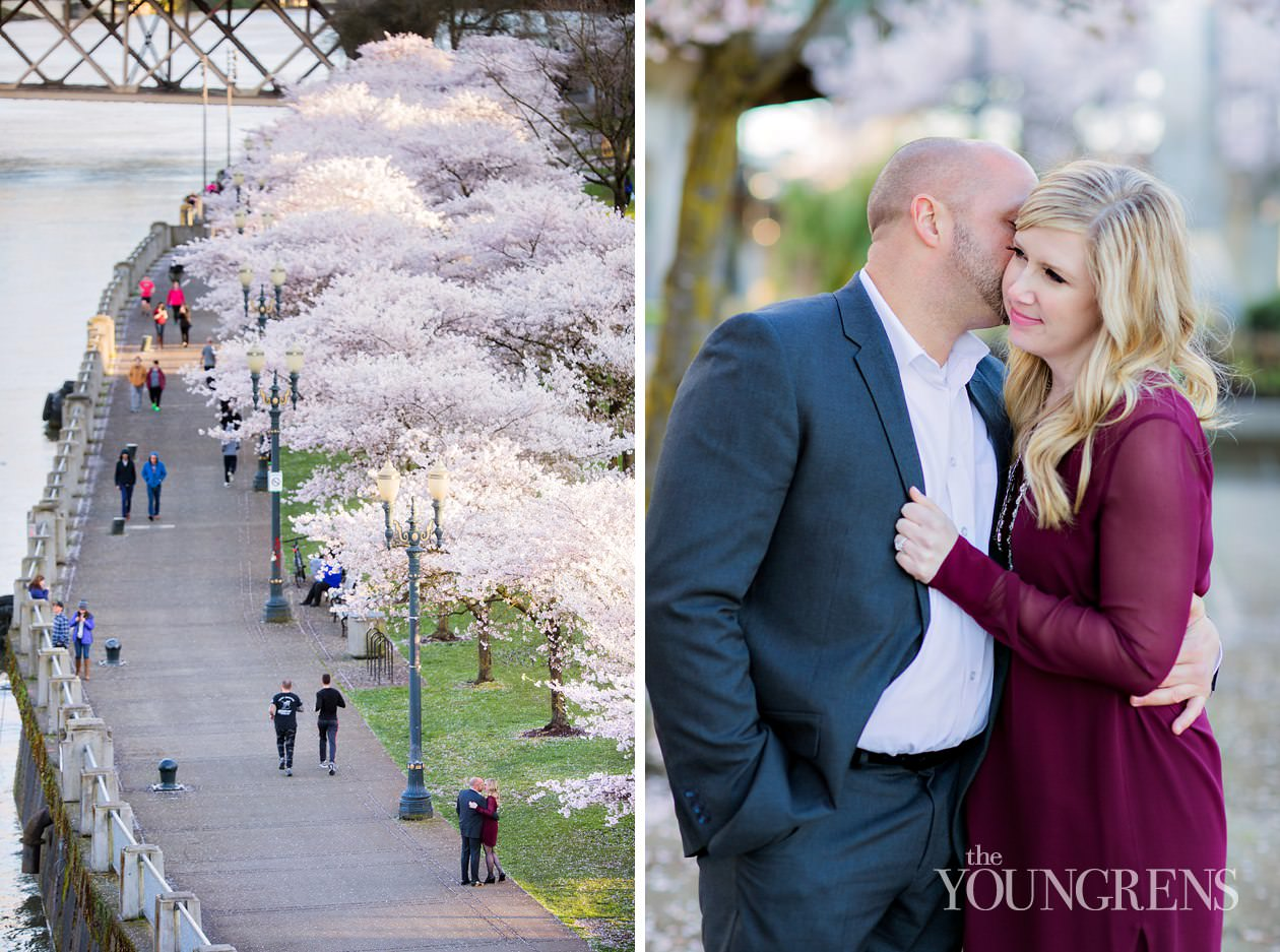 downtown portland engagement session, portland oregon engagement session, portland blocks engagement session, south park blocks engagement session, classic portland engagement session, portland waterfront engagement session, portland cherry blossoms engagement session, engagement session with portland cherry blossoms, spring engagement session in portland oregon