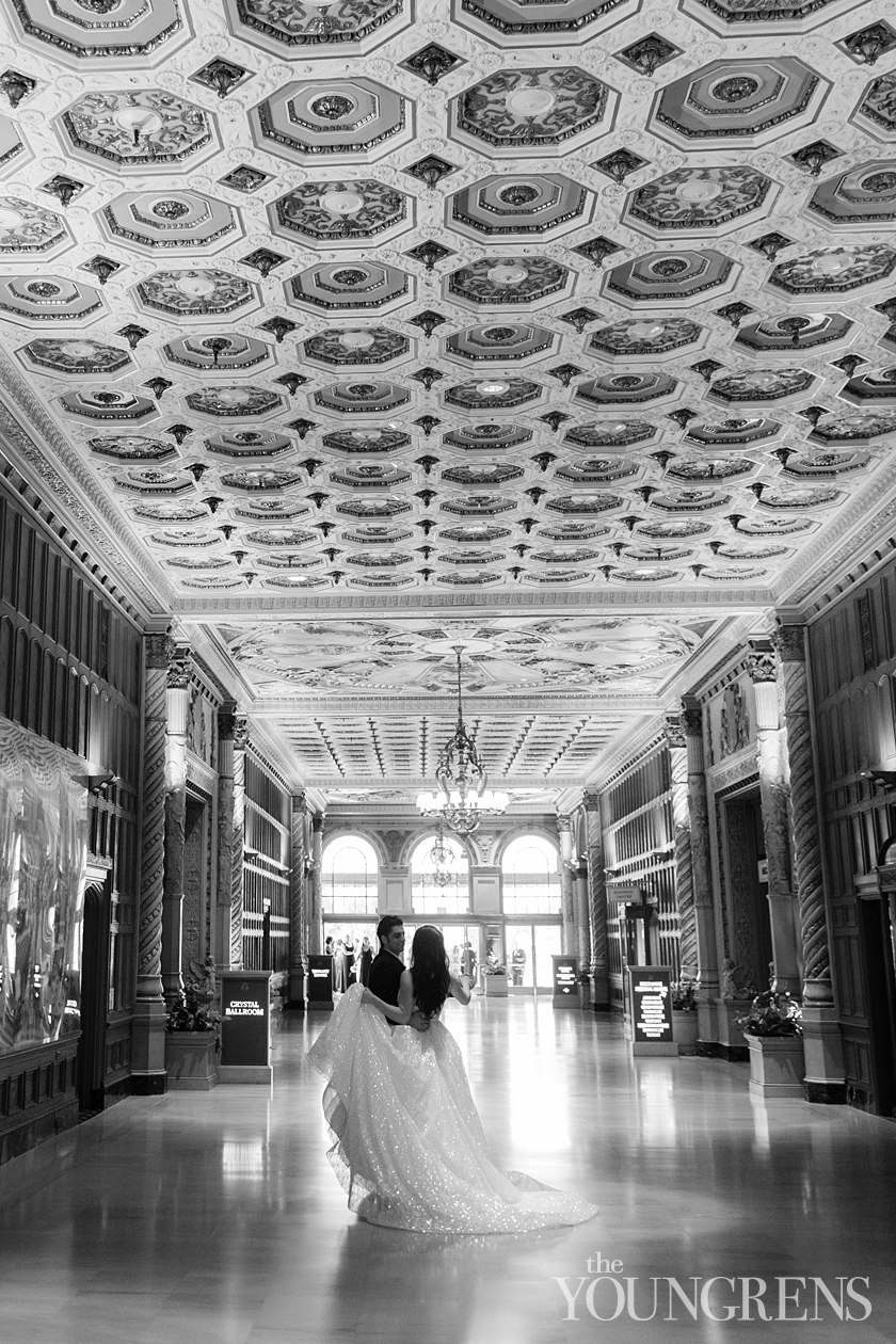 Millennium Biltmore wedding, Millennium Biltmore los angeles wedding, biltmore wedding, dtla wedding, downtown los angeles wedding, luxury la wedding, luxury downtown wedding, luxury ballroom wedding, black tie wedding, kat minassi wedding, kat minassi events, tictock florals wedding, crystal ballroom wedding, emerald room ceremony, ballroom ceremony wedding
