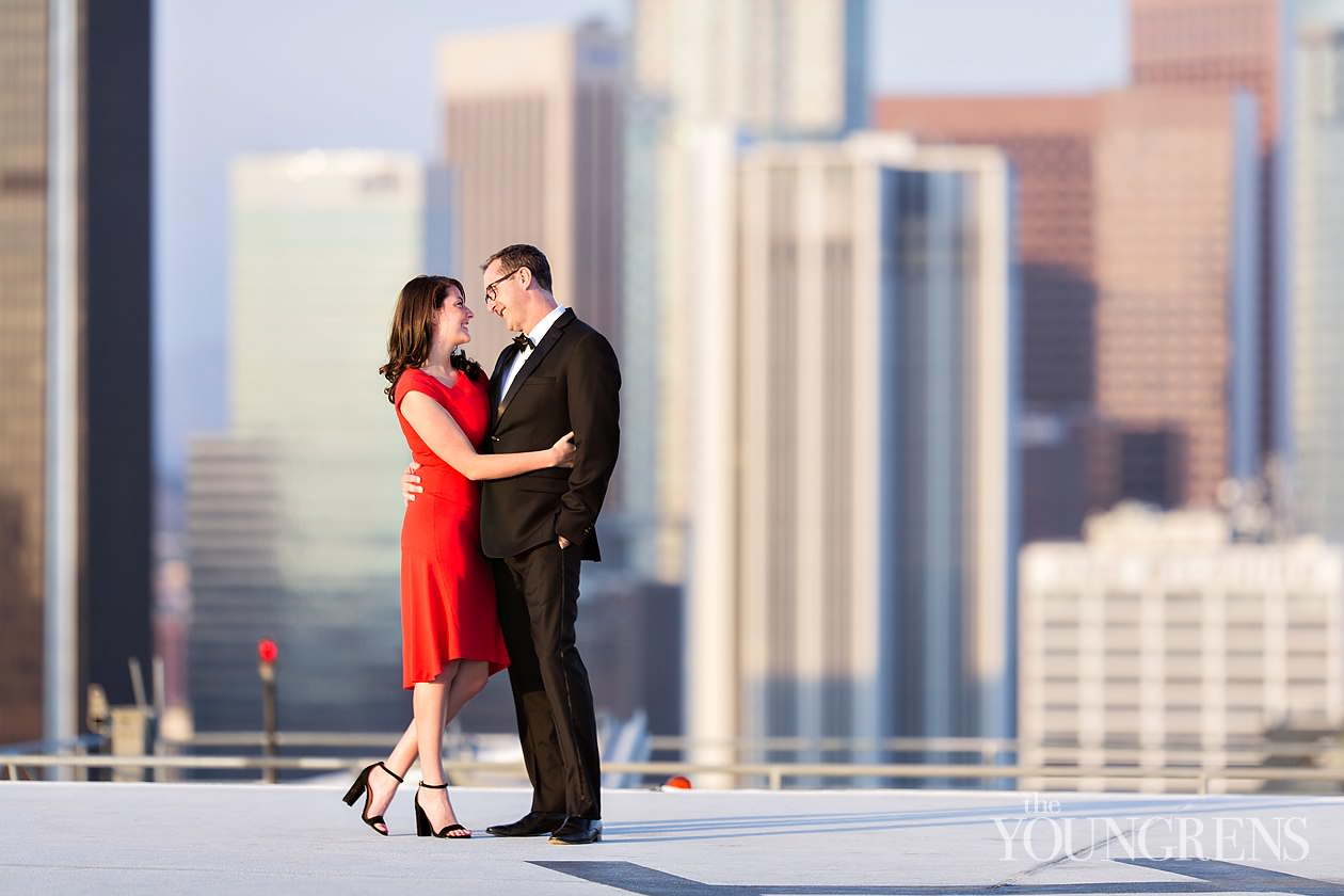 Los Angeles Helipad Engagement Session, la engagement session, dtla engagement session, urban engagement session, helipad engagement session, south park center helipad engagement, photo shoot on a helipad, portraits on a helipad, engagement session on the south park center helipad, skyline engagement session, city view engagement session, la skyline at night, elopement photography