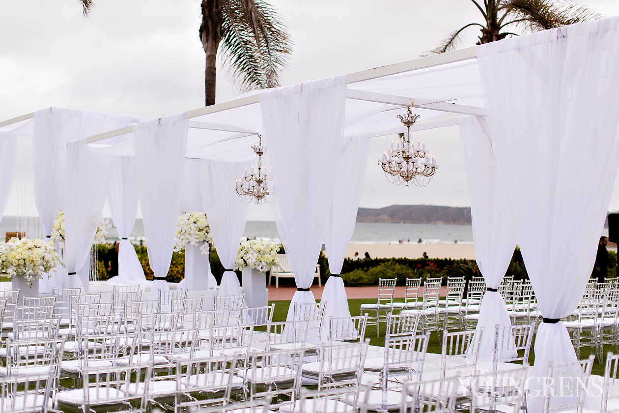 hotel del coronado wedding, beach wedding, hotel del wedding, emily smiley events wedding, white wedding, luxury wedding, coronado wedding, san diego wedding