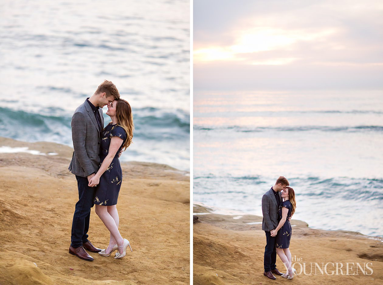 university of san diego engagement, sunset cliffs engagement, classic engagement, beach engagement, cliffs engagement, ocean beach engagement
