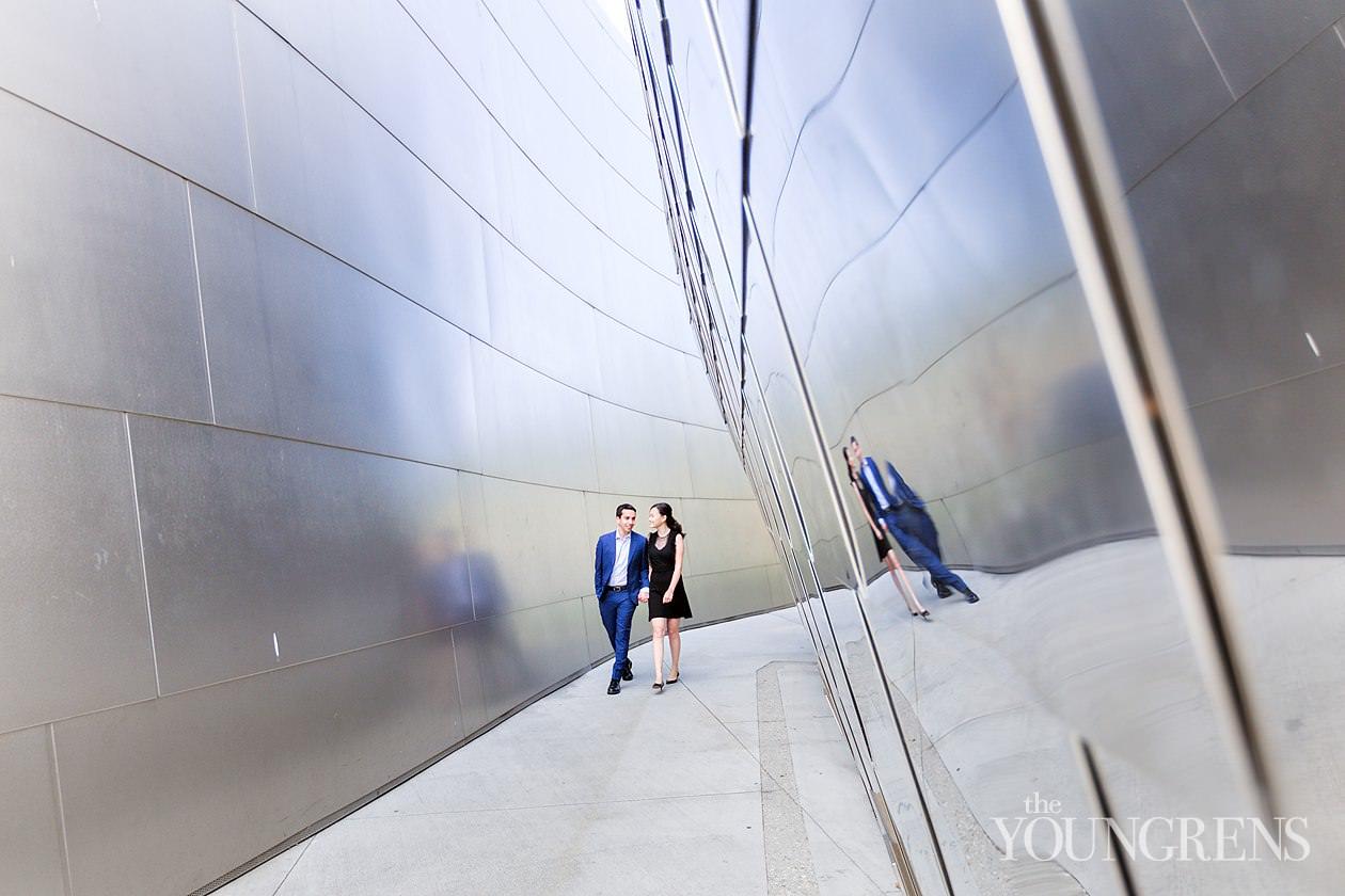 Walt Disney Concert Hall Engagement, disney concert hall engagement, downtown los angeles engagement, dtla engagement, los angeles engagement, classic city engagement, downtown engagement