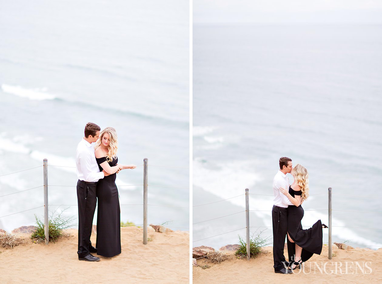 torrey pines engagement session, torrey pines state park engagement session, engagement session at torrey pines, torrey pines state beach engagement session, la jolla engagement, nature engagement session san diego, seaside engagement session, formal engagement session, black dress engagement session