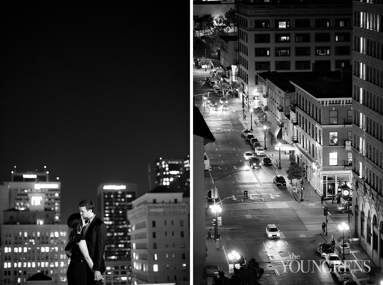 downtown san diego engagement, rooftop engagement, st james hotel engagement, downtown san diego rooftop engagement, san diego skyline engagement, urban engagement, black and white engagement, classic engagement, roof of st james hotel engagement